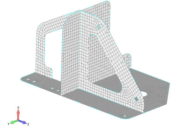 Siatka elementów skończonych nałożona na powierzchnie środkowe