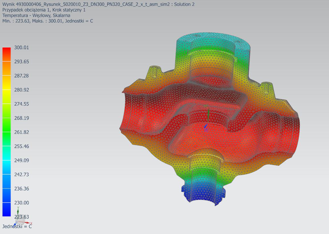 Temperatura w modelu strukturalnym zmapowana z zewnętrznego pliku wyników
