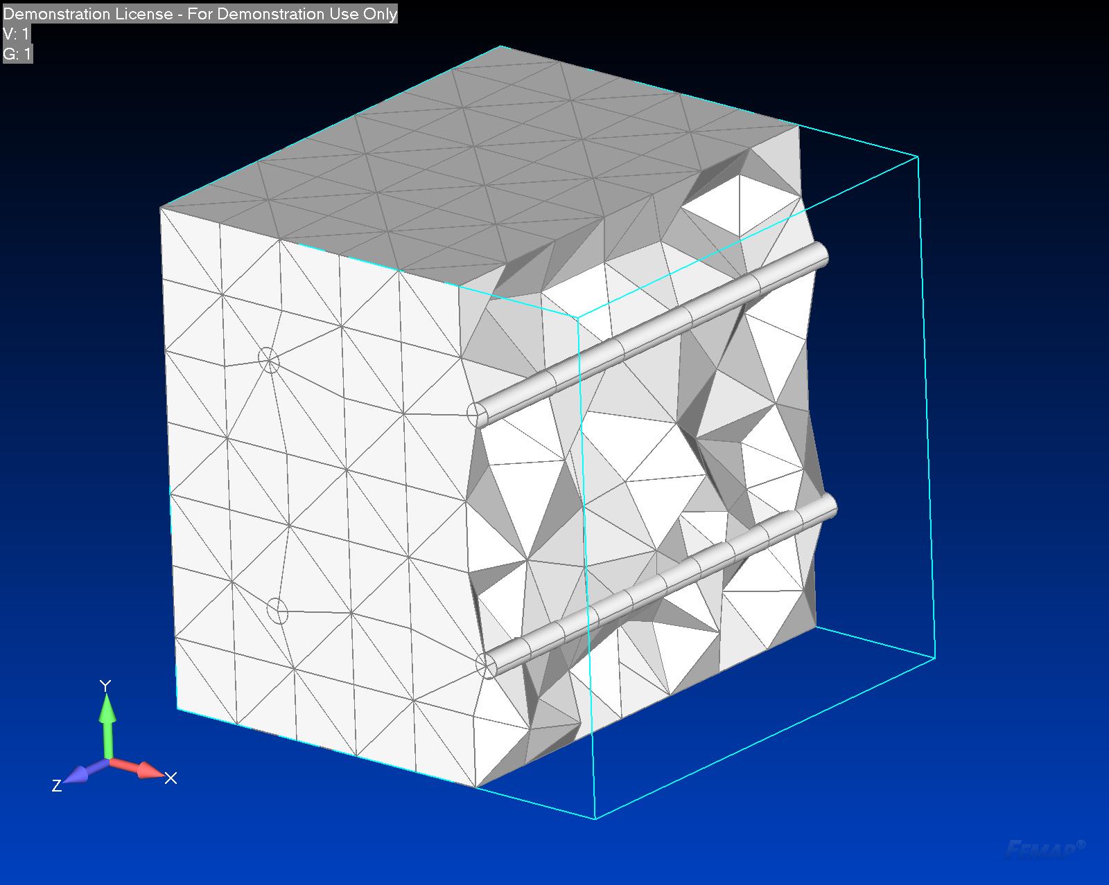 Siatka bryłowa 3D z wewnętrznymi belkami 1D - Widok siatki żelbetu w przekroju