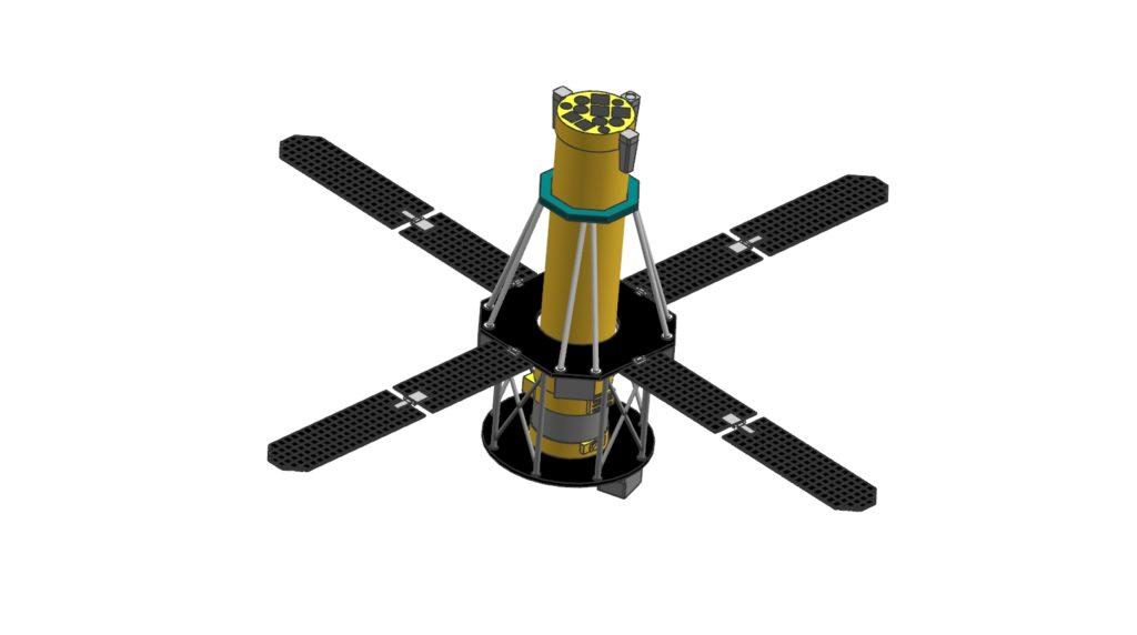 Model obliczeniowy satelity utworzony za pomocą złożeń siatek FEM