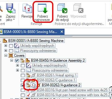Oznaczenie komponentów w PathFinder, dla których znaleziono nowsze rewizje (polecenie Pobierz najnowsze)