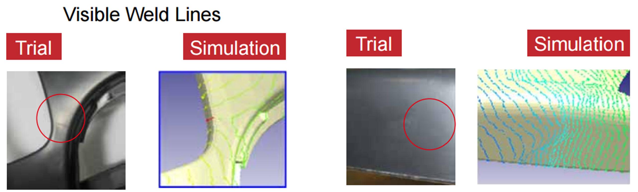 Porównanie symulacji z rzeczywistością – położenie linii łączenia (po lewej) i ślady płynięcia (po prawej)