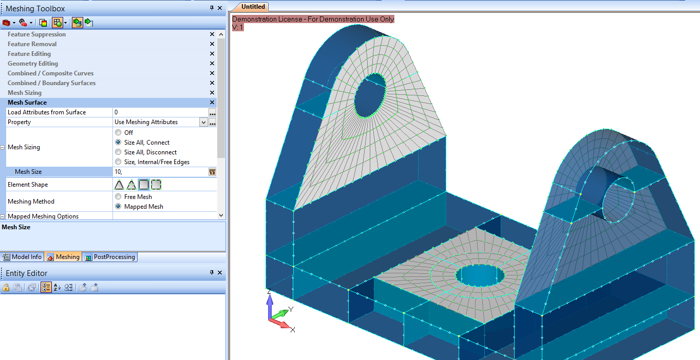 Siatka powłokowa stworzona za pomocą meshing toolbox
