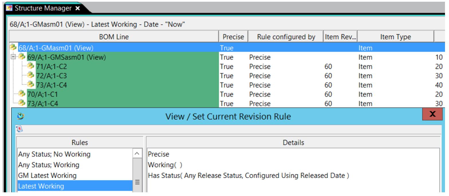 Praca z dokumentacją BOM w Teamcenter - widok złożenia na podstawie systemowej reguły rewizji.
