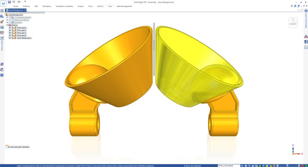 Model 3D mechanizmu wyciskarki stworzony na bazie szkicu z Catchbook