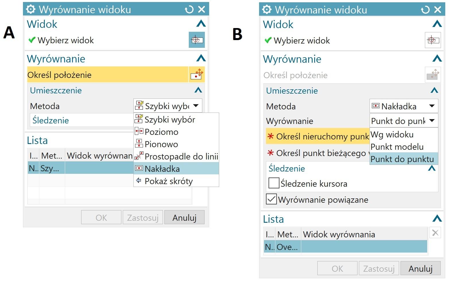 Opcje ustawiane na oknie Wyrównanie widoku w NX CAD