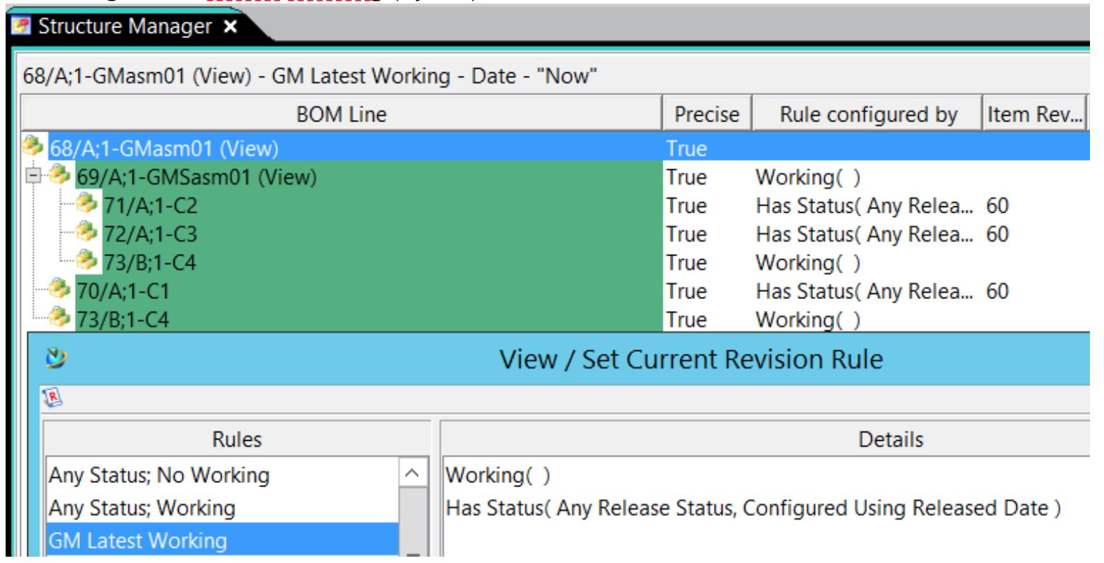 Praca z dokumentacją BOM w Teamcenter - widok względem zmodyfikowanej reguły rewizji GM Latest Working.