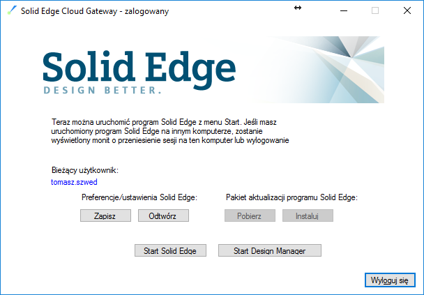 Solid Edge Cloud Enabled - logowanie do konta