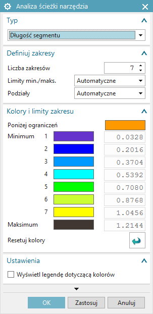 Okno Analiza ścieżki narzędzia w NX CAM