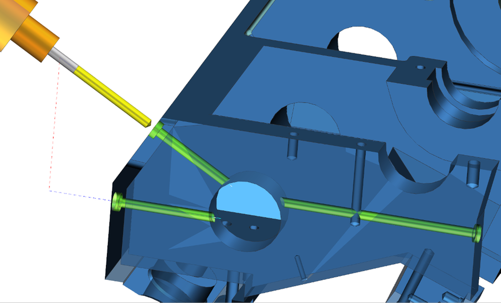 Wiercenie głębokich otworów wiertłami lufowymi w NX CAM 11 automatycznie rozpoznaje poprzeczne otwory redukując czas programowania