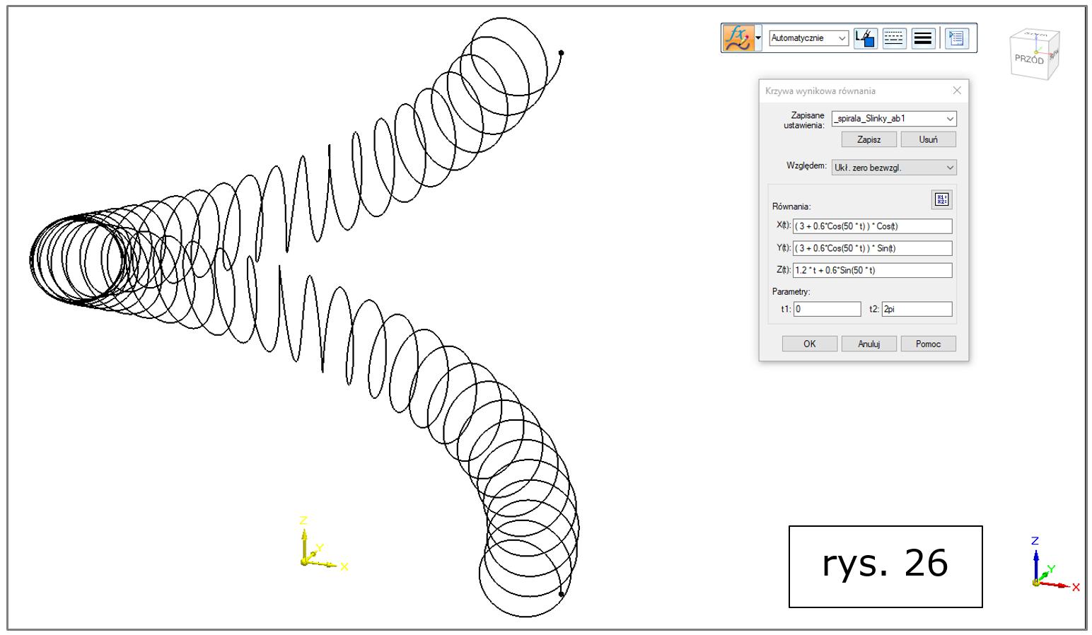 krzywa wynikowa równania, spirala Slinky Solid Edge 2022