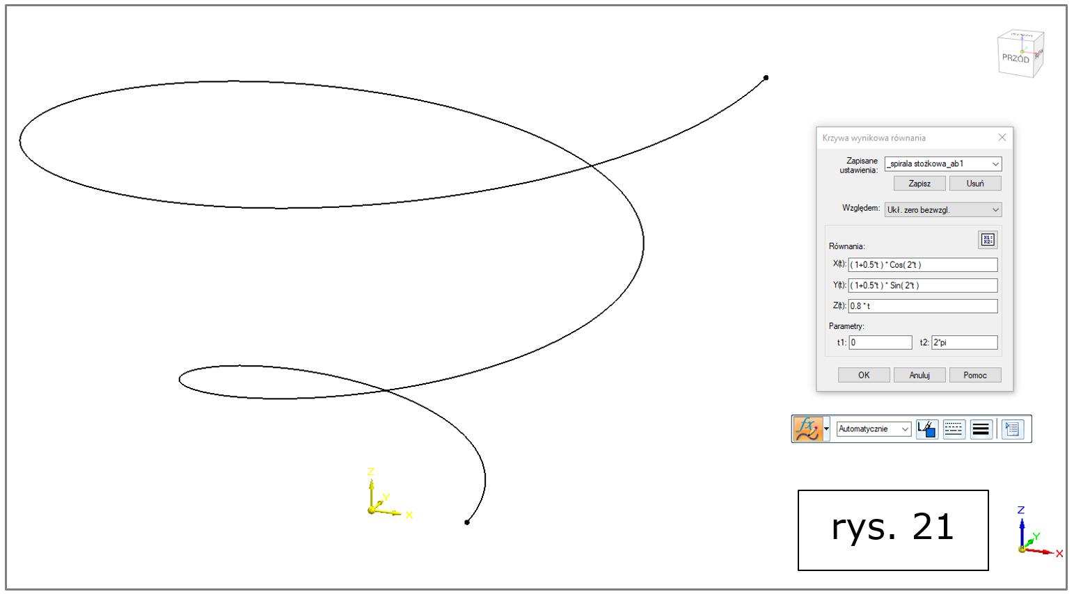 rzywa wynikowa równania, spirala stożkowa Solid Edge 2022