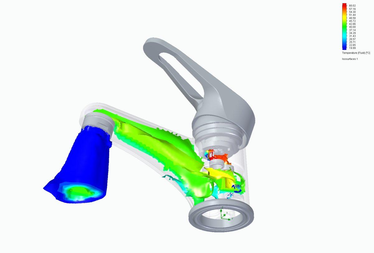 FloEFD (Flow Simulation): modelowanie przepływu w baterii umywalkowej