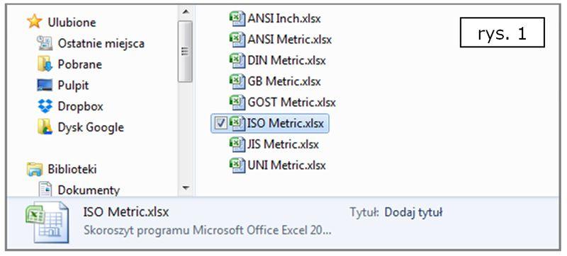 Pliki EXCEL jako bazy wiedzy nt. znormalizowanych otworów w SOLID EDGE ST7