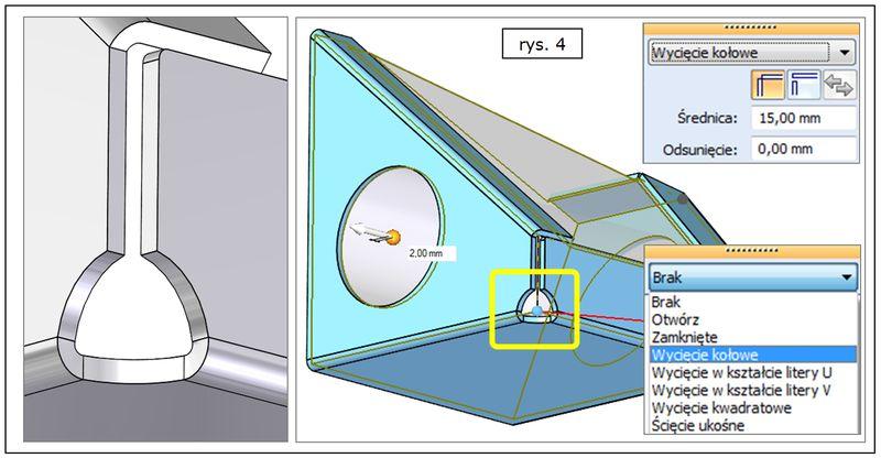 Modyfikacja naroża w modelu blachy uzyskanym z litej bryły w SOLID EDGE ST7