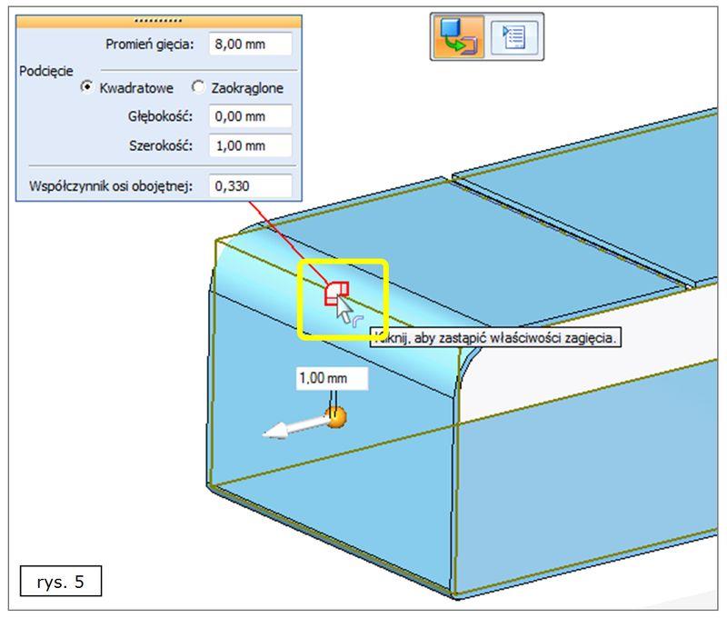 Modyfikacja zagięcia w modelu blachy uzyskanym z litej bryły w SOLID EDGE ST7