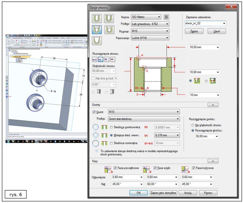 Nowy interfejs polecenia Otwór w SOLID EDGE ST7 - otwór z pogłębieniem