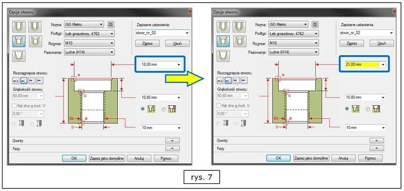 Monitorowanie zgodności wymiarów otworów z danym standarderm w SOLID EDGE ST7