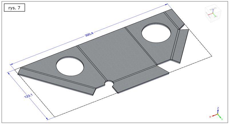 Rozwinięcie modelu blachy uzyskanego z litej bryły w SOLID EDGE ST7