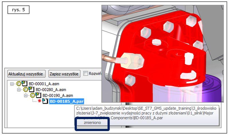 Monitorowanie aktualności komponentów w dużym złożeniu Solid Edge ST7