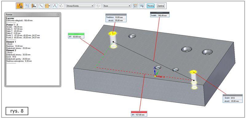 Unowocześnione funkcjonalność narzędzia Pomiar dla otworów w SOLID EDGE ST7