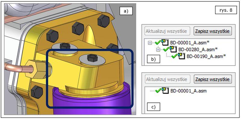 Efekt szybkiej aktualizacji geometrii dużego złożenia w Solid Edge ST7