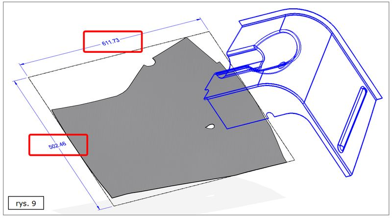 Rozwinięcie części nierozwijalnej w SOLID EDGE ST7 - wymiary X oraz Y rozkroju