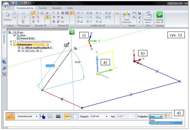 Tworzenie linii 3D (Szkic 3D) w różnych układach współrzędnych w SOLID EDGE ST7