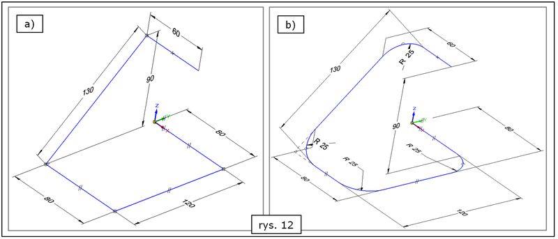 Zwymiarowanie szkicu 3D (PMI) wraz z dodaniem zaokrągleń w SOLID EDGE ST7