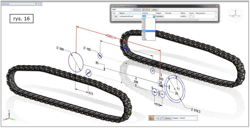 Modyfkacja geometrii wejściowej szyku wzdłuż krzywej w złożeniu SOLID EDGE ST7