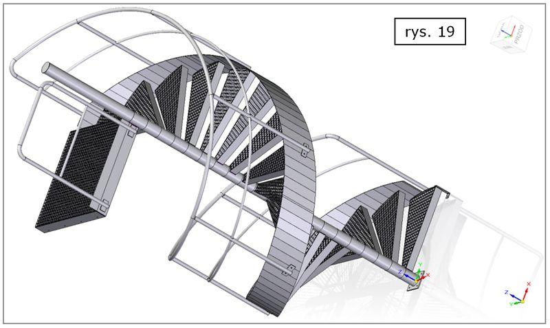 Szyk wzdłuż krzywej przestrzennej w złożeniu SOLID EDGE ST7 - schody spiralne