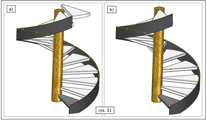 Przykładowe warianty szyku wzdłuż krzywej przestrz. w złożeniu SOLID EDGE ST7