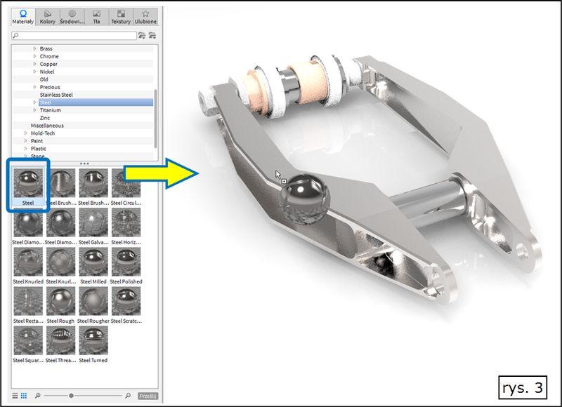 Przypisanie materiału z biblioteki KeyShot do modelu z Solid Edge ST7