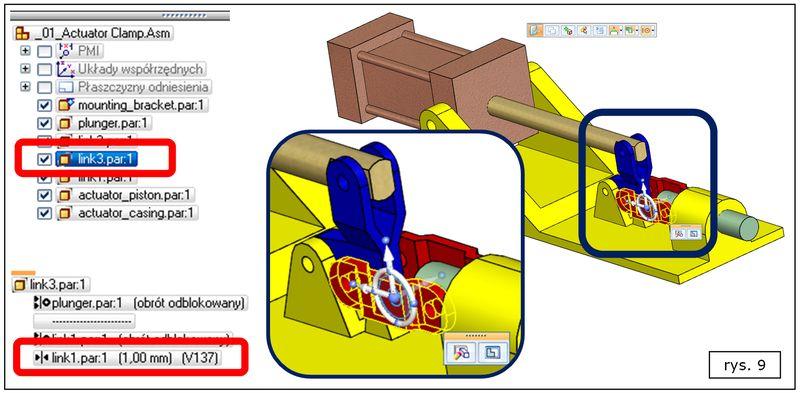 Analizowanie wybranej relacji w złożeniu Solid Edge ST7