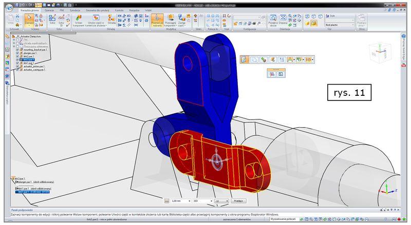 Dopasowanie ekranu do komponentów połączonych wybraną relacją w Solid Edge ST7