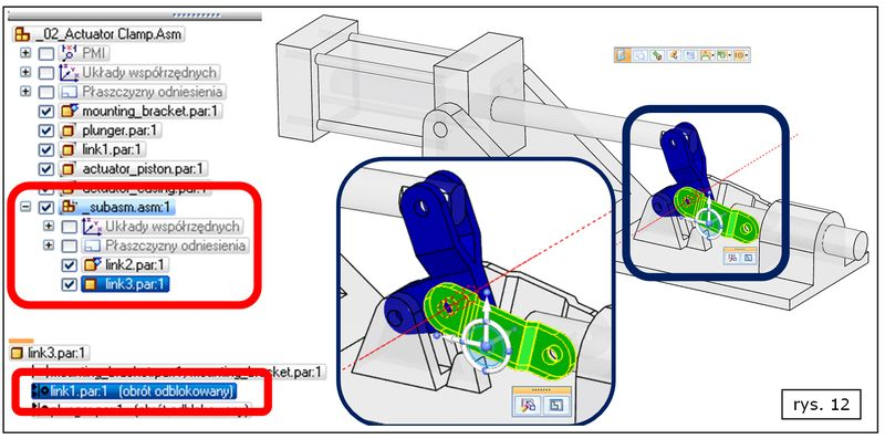 Ułatwienie prac dotyczy też relacji utworzonych w podzłożeniach Solid Edge ST7