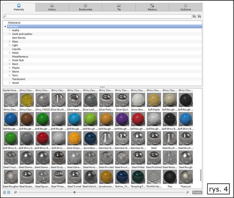 Przykłady wybranych materiałów w KeyShot dostępnym w Solid Edge ST7