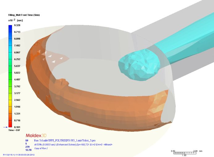 Wizualizacja 3D przemieszczających się frontów tworzyw powłoki i rdzenia podczas wypełniania gniazda formującego