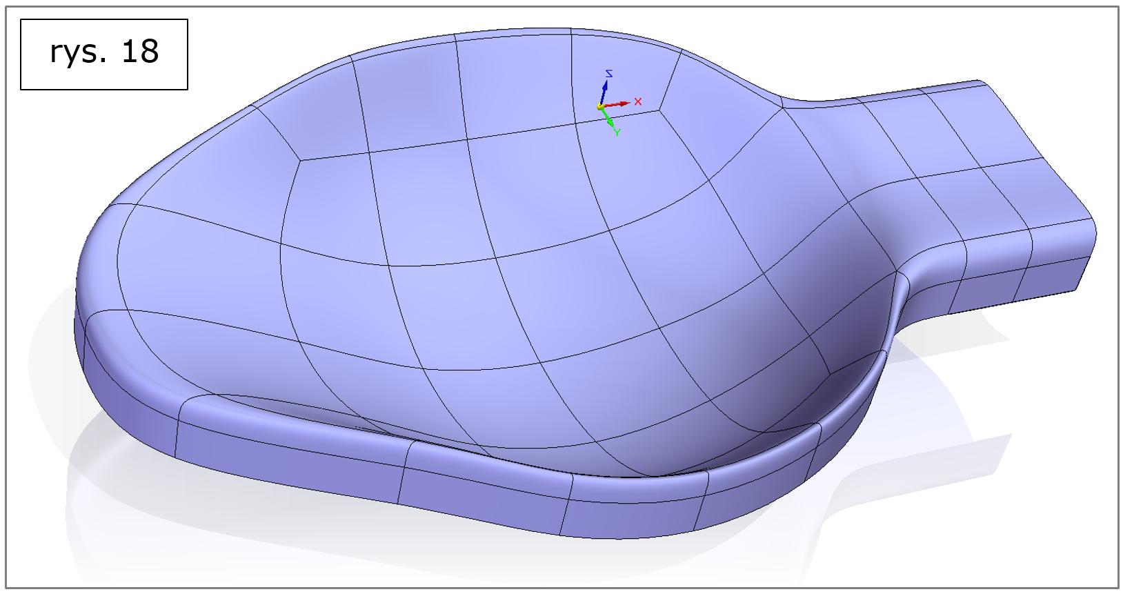 subdivision modeling, krawędzie otwarte, efekt finalny, łyżka Solid Edge 2022