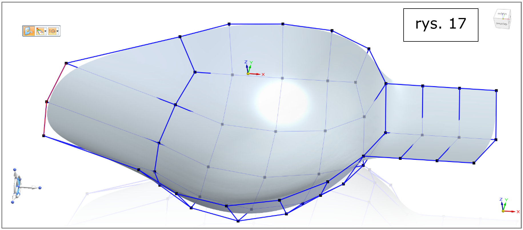 subdivision modeling, krawędzie otrwarte, podnieś - utrzymuj Solid Edge 2022