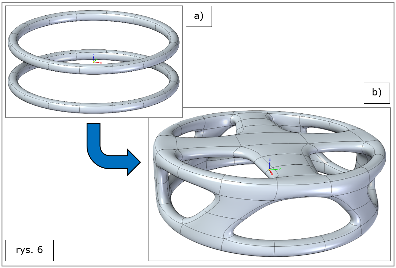 subdivision modeling, mosty powierzchniowe, pierścienie