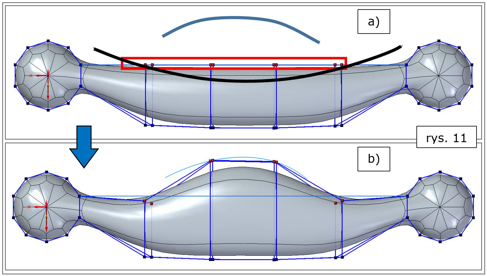 subdivision modeling, wyrównanie-do-krzywej-narysowanie-Solid-Edge-2022